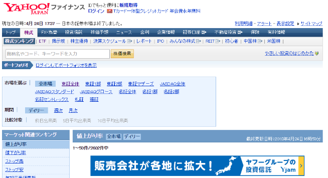 画像は『Yahoo!ファイナンス』のウェブサイト
